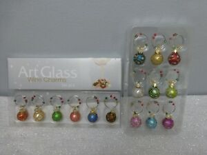 2 Boxes of 15 Christmas Feather Tree Glass Ball Wine Charms LS Arts + Other