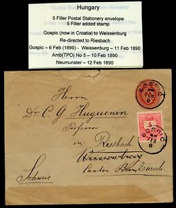 HUNGARY 1890 5FILLER UPRATED POSTAL STATIONERY ENVELOPE TO SWITZERLAND. A165