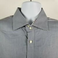 TD Thomas Dean Mens Blue Nailshead Dress Button Shirt Sz XXL 2XL