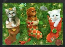 Christmas Giordano Kittens Cats Stockings Tree Ornaments Bows - Greeting Card