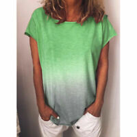 Women Summer Short Sleeve Gradient Plus Size Casual Beach T Shirt Tops Blouse #B