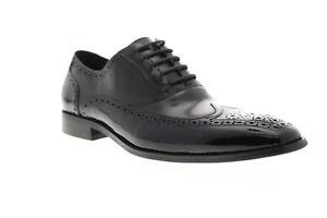 Carrucci Calt Shin KS142-02PC Mens Black Low Top Wingtip Oxfords Shoes 8.5