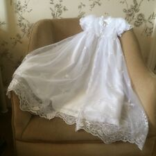 NEW LONG LENGTH WHITE BABY GIRLS CHRISTENING GOWN DRESS & BONNET 3 6 9 12 15 18m