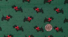 FABRIC ~ SCOTTISH TERRIER SCOTTIE DOG AMERITEX Green Navy Blue Red Cotton 3 yd