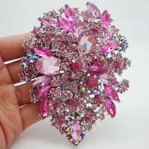 "Fashion Style 3.94"" Flower Drop Brooch Pin pendant Pink Rhinestone Crystal"