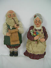 June McKenna Collectibles Mr Claus and Mrs Claus Retired Flat Ornaments Vintage