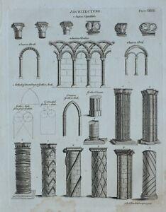 1797 ORIGINAL PRINT ARCHITECTURE SAXON CAPITALS ARCHES GOTHIC VARIOUS COLUMN