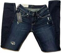 NEW Silver Jeans Co. Boyfriend Women's Sz 24W x 29L Slim Leg Mid Rise Indigo NWT