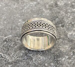 Solid 925 Sterling Silver Mens Spinner Weave Ring Band Celtic 11mm Size R 1/2