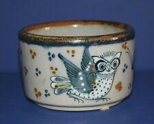 Tonala El Palomar Ken Edwards Signed Straight Side Bowl Owl Butterfly Flower EUC