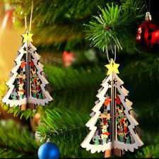 DIY 3D Wood Christmas Tree Pendants Hanging Ornament Holiday Decor Craft Gifts