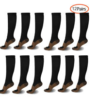 3-12 Pairs Copper Knee High Compression Socks 15-20mmHg Graduated Support
