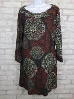 Anthropologie Aryeh Gray Red Medallion  Button Collar Knit Sweater Dress Size L