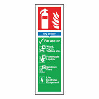 NEW! Safety Sign Fire Extinguisher Dry Powder 280x90mm Self-Adhesive F201/S
