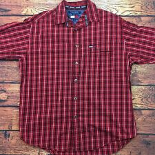 Tommy Hilfiger Jeans Men's Medium Red Plaid Flannel Box Logo L/S Shirt VTG -A482