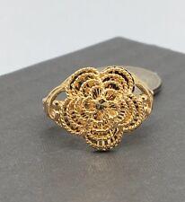 18K Solid Yellow Gold Diamond Cut Flower Ring