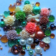 20g Autumn Mix Pearls/Roses/Gem Flatback Kawaii Cabochons Decoden Craft Kitsch