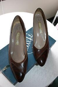 Amalfi Italian Leather Shoes Chestnut Brown Tuscan Calf Medium Heel Size 9AA
