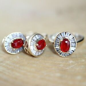 925 Sterling Silver Handmade Authentic Turkish Ruby Ladies Set Ring Size 6-12