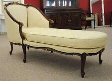 Wunderschöne Couch Ottomane Mahagoni Farbe Holz brown Gold Bezug Beige