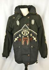 Bogner Hooded Coat Size 6 Suede Sleeves Fringed Black Southwest Head Dress Rare