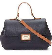 VALENTINA Italian Made Leather Flap Satchel/CrossBody Black Sz M $170+ NWT #1802