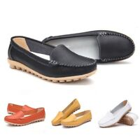 Women's Nursing Shoes Split Leather Slip On loafers Workwear Flat Shoes 1Pair