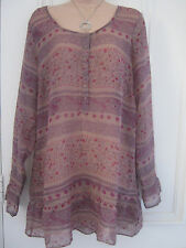 Taillissime from La Redoute Creation BNWT sheer brown patterned tunic top UK 16