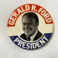 Gerald Ford Presidential Button Pin Vintage Big Large Photo 70s Election GOP