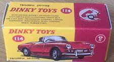 Dinky 114 Triumph Spitfire Empty Repro Box Only