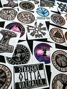 5x Random Viking Stickers With Minor Defects, Decal, Valknut, Vegvisir, Mjolnir