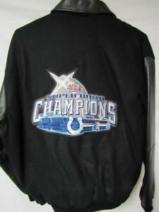 Indianapolis Colts Mens XL Super Bowl XLI Champions Wool Leather Jacket B1 158