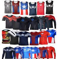 supereroe marvel T-Shirt gilet uomo slim sport maniche lunghe corte maglia shirt