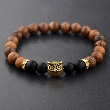 8mm Natural Wooden Bead Gold Owl Head Men's Bracelets Charm personality Jewelry