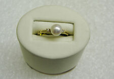 FABULOUS 14K YELLOW GOLD CULTURED PEARL & 2 DIAMOND RING SIZE 7 1/4 NG30-B
