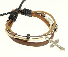 Brown Leather Strap Cord Beads Metal Cross Crucifix Bracelet Wristband Surfer