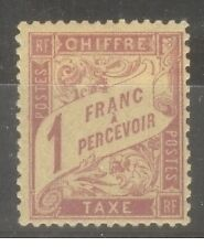 "FRANCE STAMP TIMBRE TAXE N° 39 "" DUVAL 1F ROSE SUR PAILLE 1896 "" NEUF x TB SIGNE"