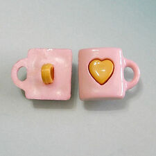 15 Tea Cup Heart Mug Kid Novelty Craft Clothes Shank Sewing Buttons Pink K807