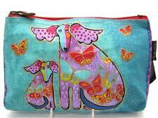 LAUREL BURCH Canvas Cosmetic Bag Makeup Zippered Case ~PUPPIES & PAPILLION ~ New