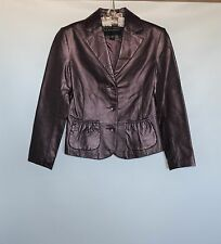 NWOT BERNARDO Soft Leather Dark Violet Pearlescent Womens Blazer Jacket Size XS