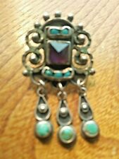 "Amythest & Turquoise 2"" x 1"" Vintage Matilda Poulat 925 Earrings Mexico"