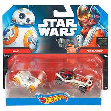 MATTEL Hot Wheels Star Wars 1:64 SCALA DIECAST bb-8 & POE dameron PERSONAGGIO CARS