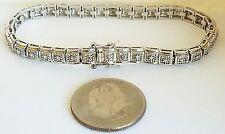 "QVC Diamonique Sterling Silver 7.5"" Tennis Bracelet W/CZs"
