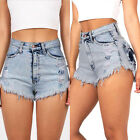 Retro Women High Waisted Blue Stretch Ripped Ladies Denim Shorts Jeans Hot Pants