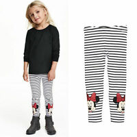 Girls Kids Children Cotton Leggings Minnie Mouse Pants Trousers Bottoms Age 2-7