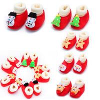 Newborn Toddler Baby Boy Girl Christmas Cartoon Warm Soft Sole Boot Casual Shoes