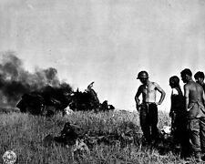 "American Soldiers with Dead German Pilot 8""x 10"" World War II WW2 Photo 589"