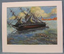 Original Harry Fisk Watercolor Sailing Ship in Distress Signed