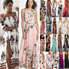Boho Womens Holiday Off Shoulder Floral Long Maxi Summer Beach Party Dress UK