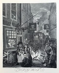 William Hogarth - Times of the Day - Night - Charing Cross - London